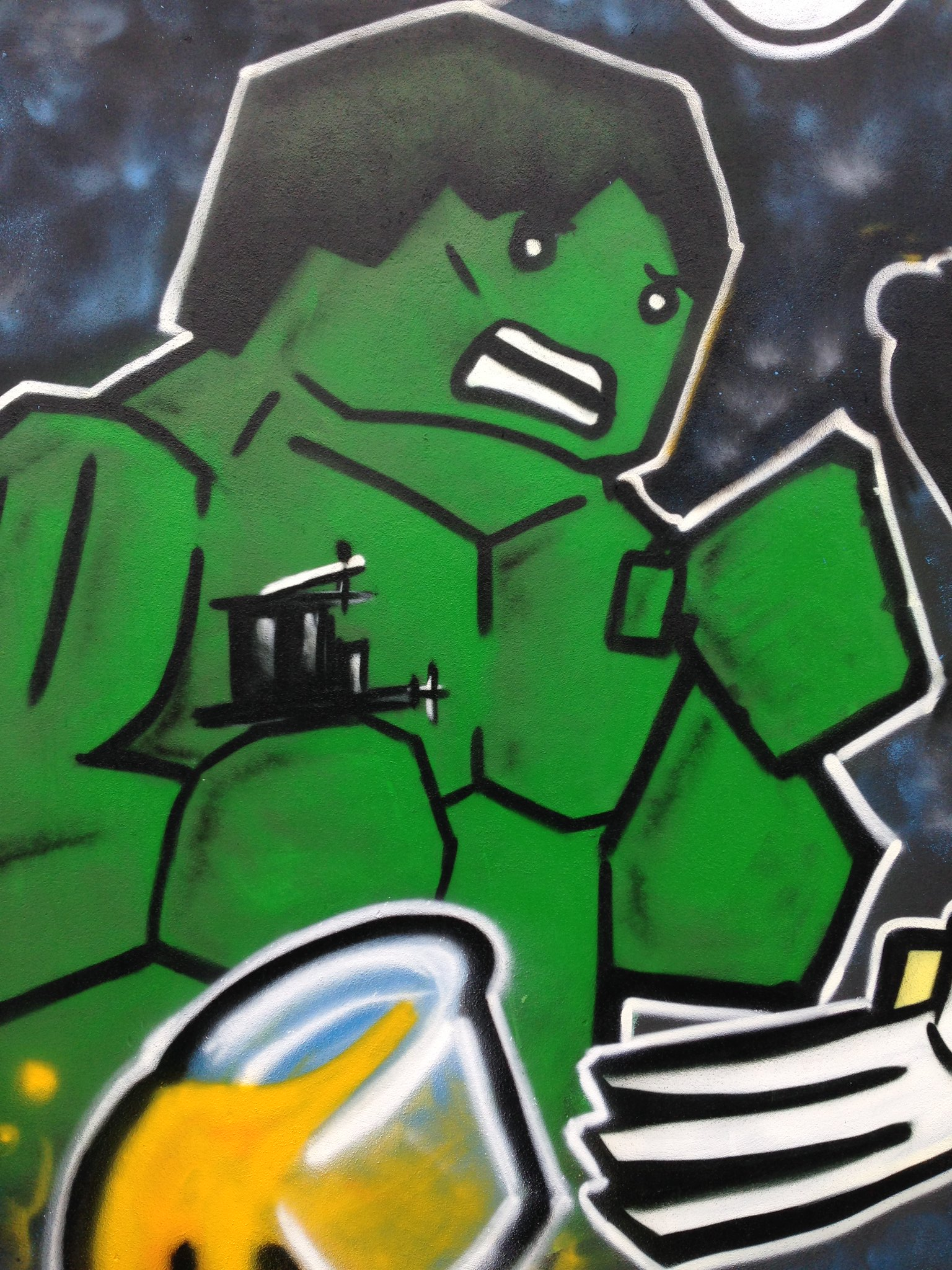 Marvel Lego Incredible Hulk street art, Blackpool, by Dominic Carlyle