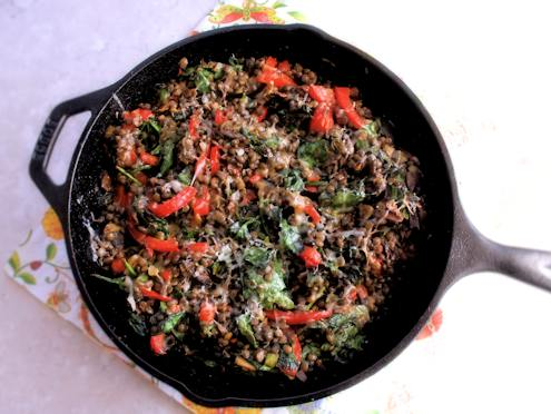 lentils mushrooms and spinach