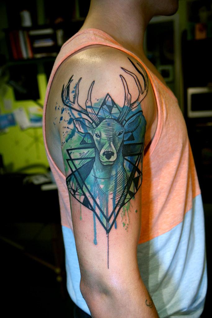 Watercolor Geometric Stag Tattoo Deanna Wardin Flickr
