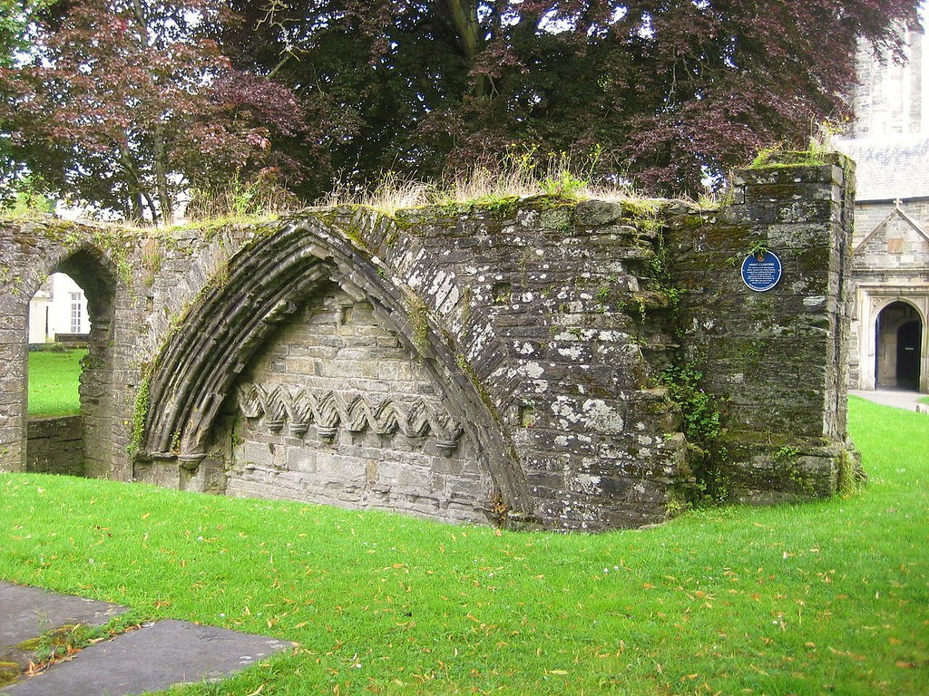 Ruin of the abbey cloister at Tavistock, Devon, England