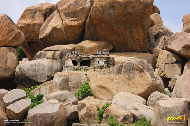 Boulders and ruins on Hemakuta Hill in Hampi, Ballari district, Karnataka, India