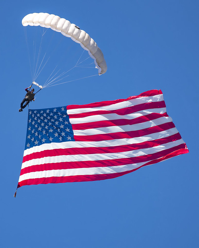 American flag parachuted into stadium
