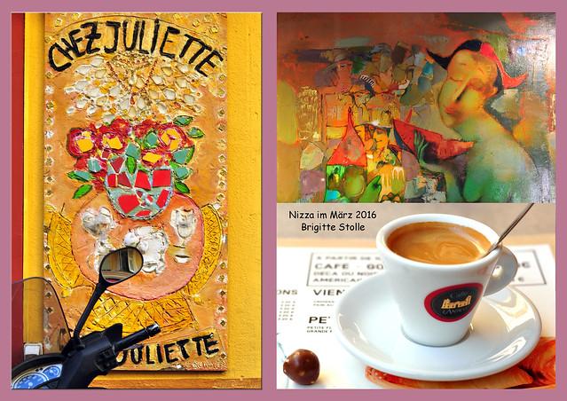 Nizza Nice Chez Juliette Café Kunst Espresso März 2016 Fotocollage Brigitte Stolle