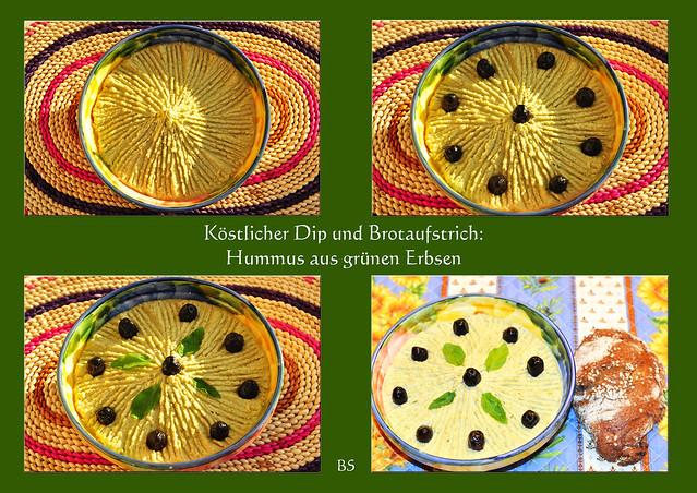 Vegan vegetarisch Hummus grüne Erbsen Olivenöl Knoblauch Tahin Gewürze Brotaufstrich Dip zu Gemüse lecker Foto Brigitte Stolle Mannheim 2016