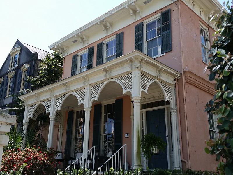 pink house lattice porch