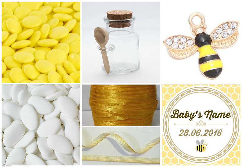 suikerbonen doopsuikers wit geel glazen potje met lepel en kurk beitje gele bei zomer thema honing goud geboorte doop feest cadeautje geschenk baby shower gift sugar coated chocolates sweets treats yellow white satin ribbon bee honey charm gold glass jar wooden spoon cork sticker label name date of birth baptism christening pinterest diy craft