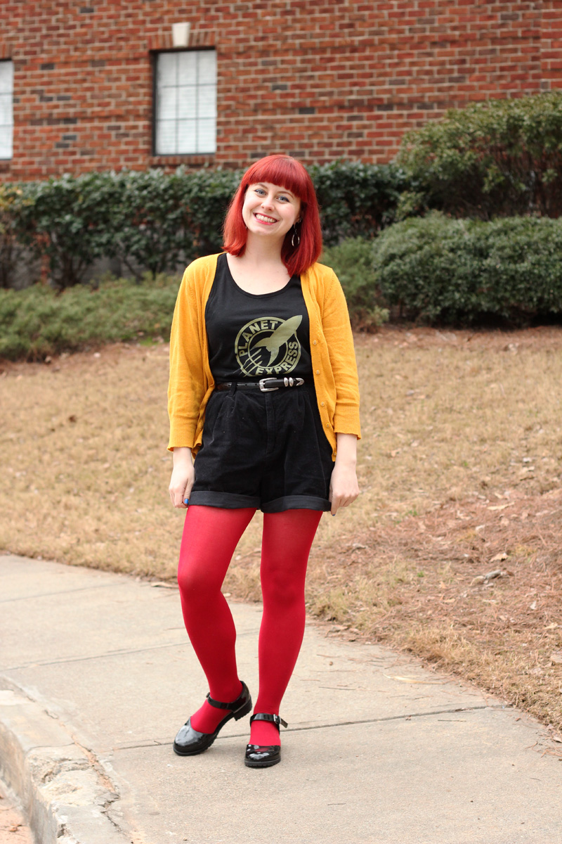 Planet Express Graphic Top, Black High Waisted Corduroy Shorts, Red Tights, and a Comfy Mustard Cardigan