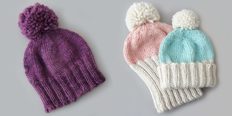 Hoxton Hats in It's a Stitch Up Marshmallow Cloud Baby Alpaca Chunky. Hoxton Basic (left) in 'purple rain' and Hoxton Luxe (right) in 'Baby Cakes'/'Natural' and 'Vapour'/'Natural'