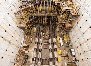 The end of the bored section of the SR 99 tunnel