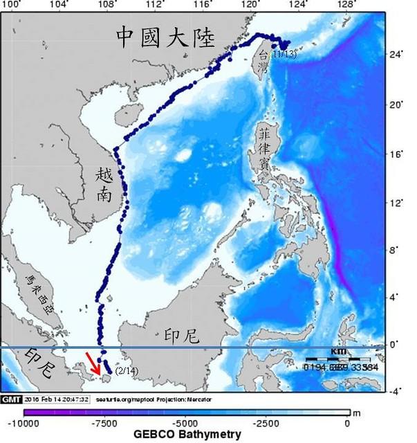 2月14日追蹤軌跡到達勿里洞島。圖片來源:程一駿提供