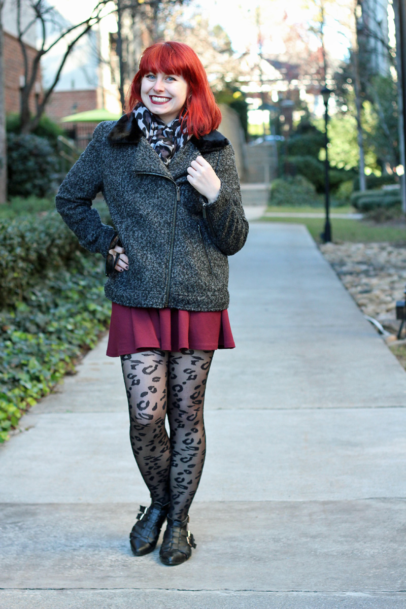 Gray Boucle Forever 21 Coat, Leopard Print Scarf, Sheer Leopard Tights, and Cutout Boots