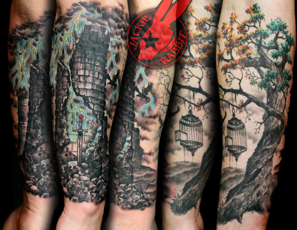 Realistic tree tower sword lightning sleeve tattoo by jack for Realistic tree tattoos