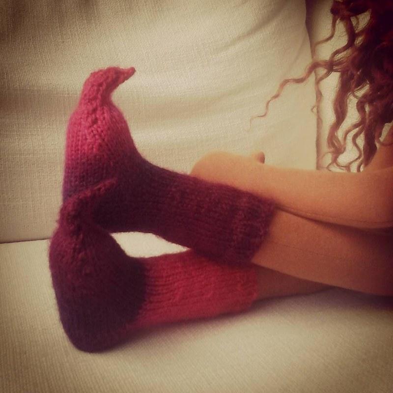 Custom knit doll socks
