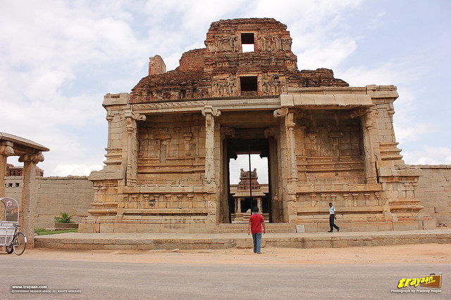 Ruined main entrance tower gopura of Krishna temple in Hampi, Ballari district, Karnataka, India