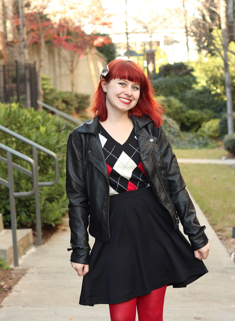 Black Leather Jacket, Classic Argyle Sweater, and a Black Skater Skirt