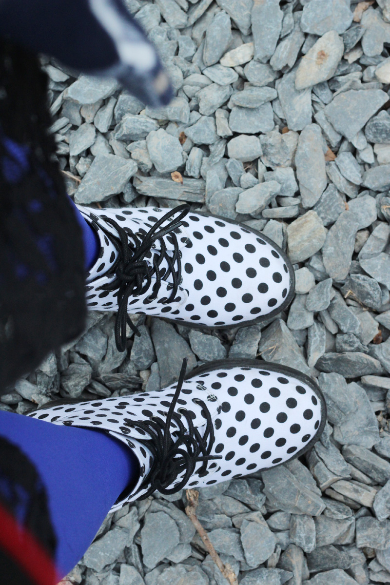 White Polka Dot Boots from Boohoo