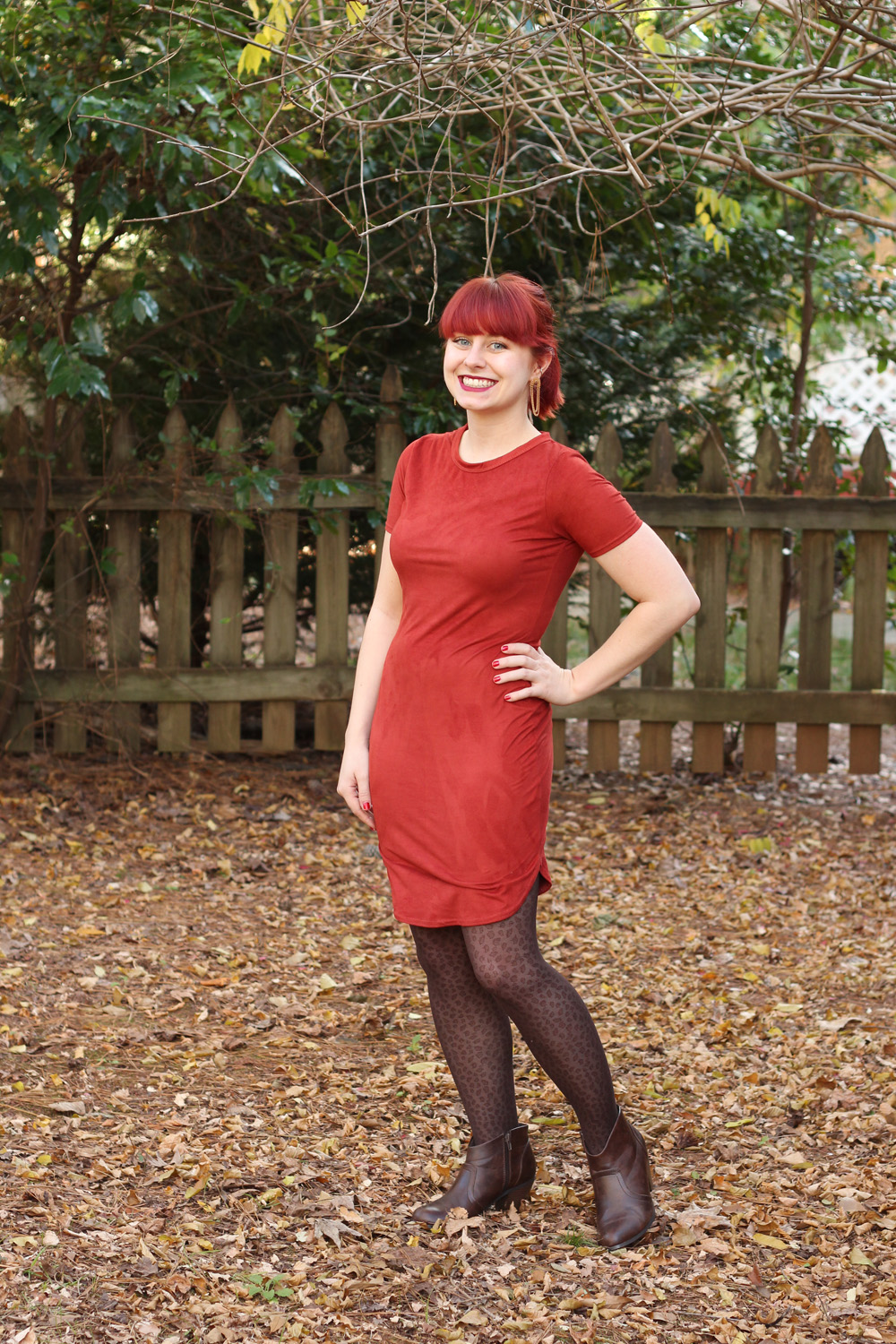 Rust Orange Faux Suede Bodycon Dress with Brown Leopard Tights and Dark Brown Ankle Boots