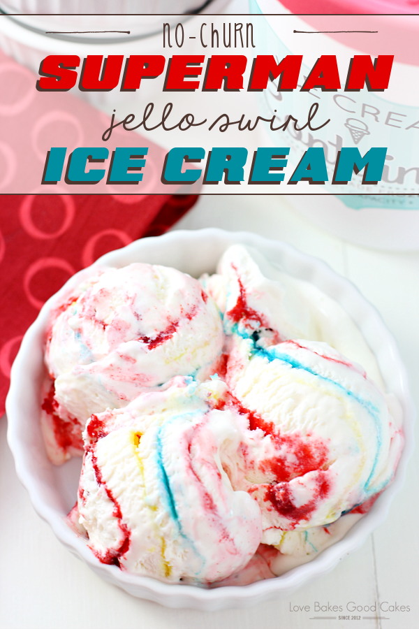 No-Churn Superman Jello Swirl Ice Cream in a white bowl.