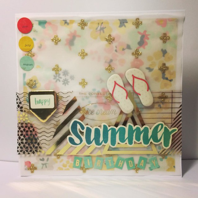 Summer birthday card by StickerKitten using Crate Paper Poolside range
