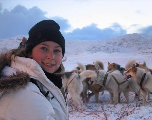 travel expert Julia Dimon dogsledding in Greenland