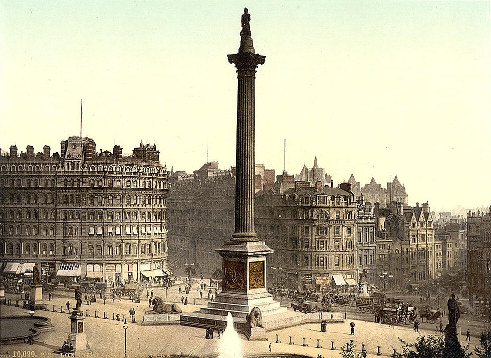 Trafalgar Square, from National Gallery, London, c1890.