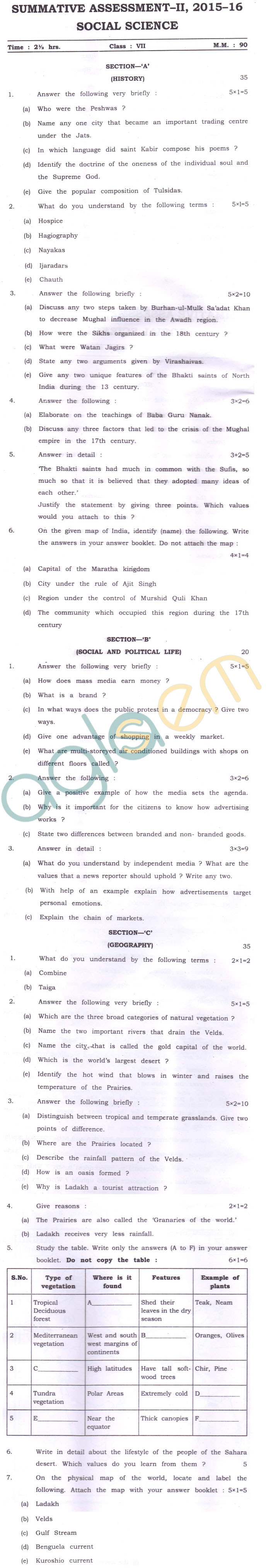 CBSE Class 7 SA 2 Question Paper for Social Science