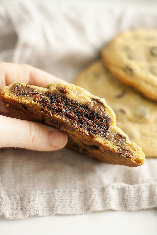 brownie stuffed chocolate chip cookies | heathersfrenchpress.com