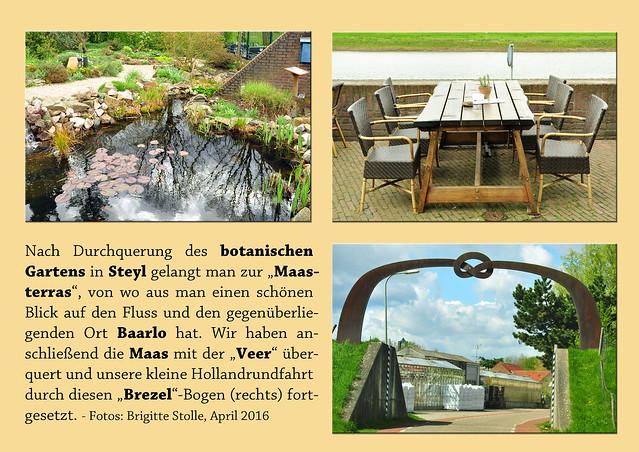"""Nach Durchquerung des botanischen Gartens in Steyl gelangt man zur """"Maasterras"""", von wo aus man einen schönen Blick auf den Fluss und den gegenüberliegenden Ort Baarlo hat. Wir haben anschließend die Maas mit der """"Veer"""" überquert und unsere kleine Holland-Rundfahrt durch diesen """"Brezel""""-Bogen (rechts) fortgesetzt. Foto Fotocollage Brigitte Stolle April 2016"""