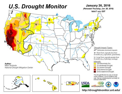 U.S. Drought Monitor Drought Assessment map