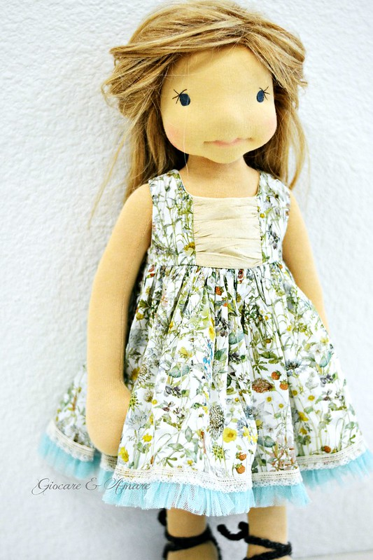 Spring Fling Dress (Blue, Yellow, Green) for 18-21 inch doll