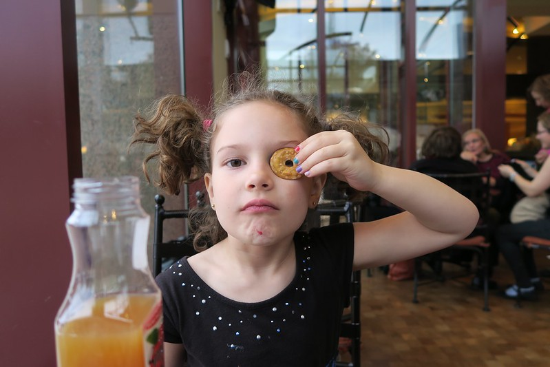 Anais with a pretzel monocle