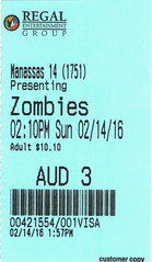 Pride and Prejudice and Zombies ticketstub