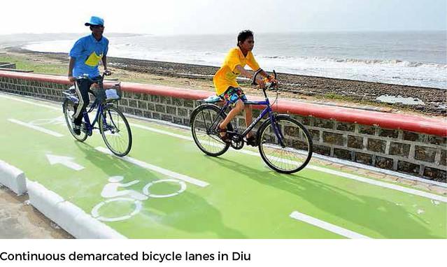 印度在Diu島成功打造自行車專用道。圖片來源:NIUA。