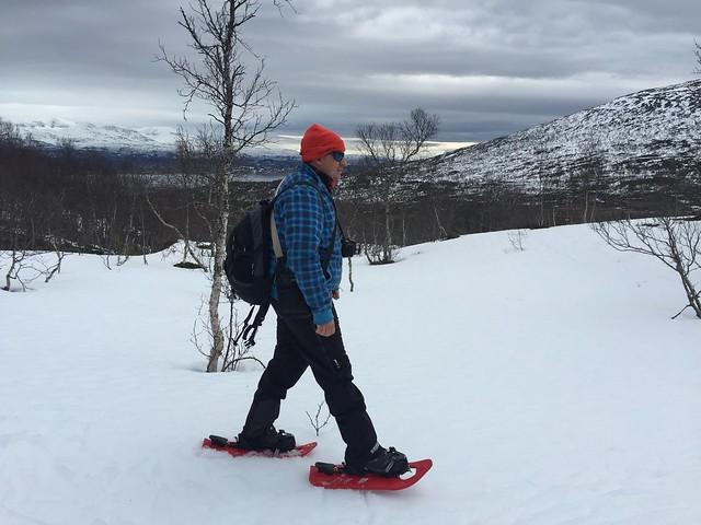 Sele caminando con raquetas de nieve en Laponia Noruega
