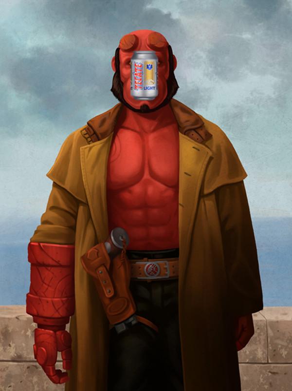 Magritte Hellboy by Ben Chen
