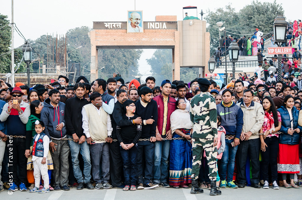 Wagah Border Parade Indian tourists