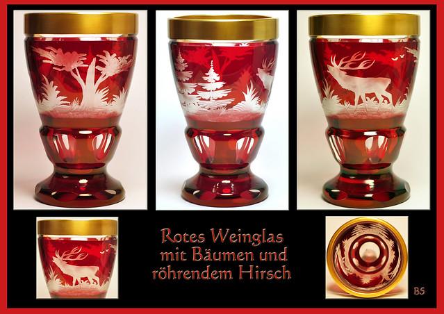 Schlechtwetter-Indoor-Fotografie Glas Weinglas Trinkglas Trinkgefäß alt antik rot Baum Bäume Wald Hirsch röhrend röhrender Hirsch Goldrand schwer groß Glaskunst Foto Brigitte Stolle Mannheim 2016