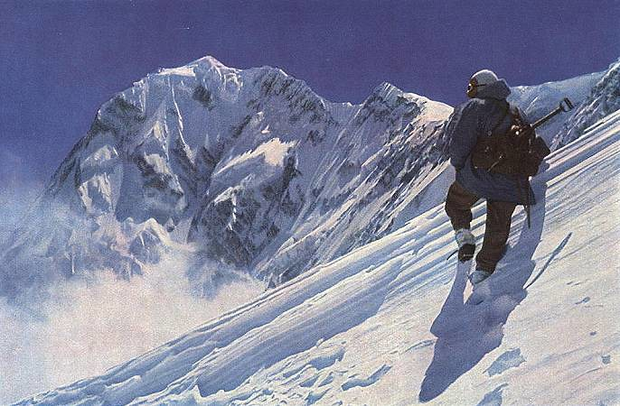Φωτογραφία του Hermann Buhl που τραβήχτηκε από τους συντρόφους του τις μέρες που προηγήθηκαν της τελικής εξόρμησης, καθώς η αποστολή προωθούταν στην κόψη Rhakiot.