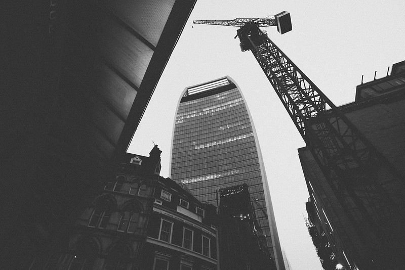 The Walkie Talkie building with a crane. London photographed by Will Strange