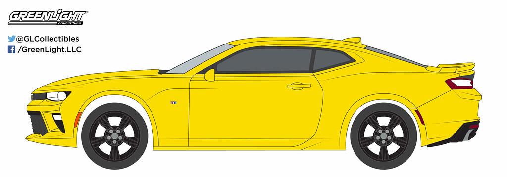 Greenlight Chevrolet Camaro SS 2016 Yellow with Black stripe 1//64 13160