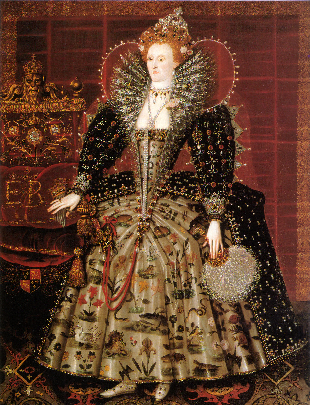 The 'Hardwick Hall' portrait of Elizabeth I of England by Nicholas Hilliard, c.1599.
