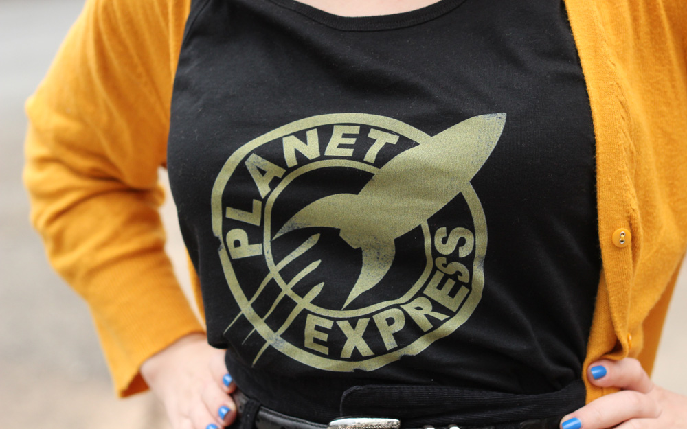 Black Planet Express Futurama Look Human Tank Top with Mustard Yellow Cardigan