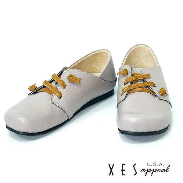 XES,專櫃鞋款,休閒鞋,真皮,彈性綁帶,灰色