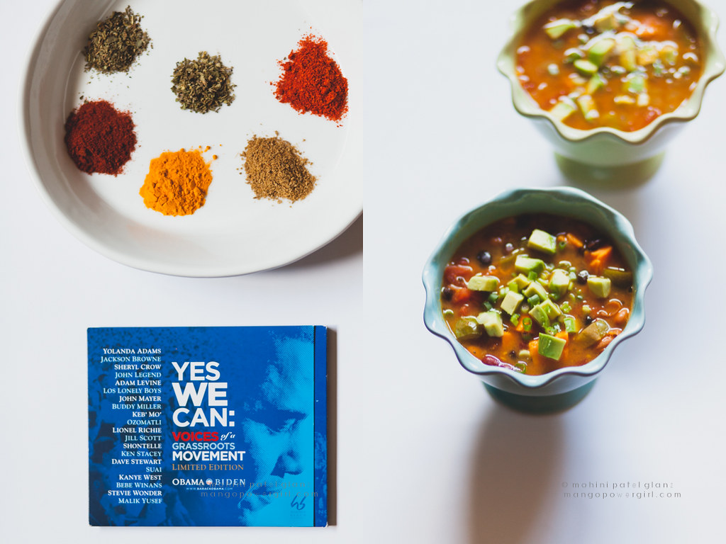 president barack obama's chili with a vegan soul with spice & herbs for it + yes we can cd