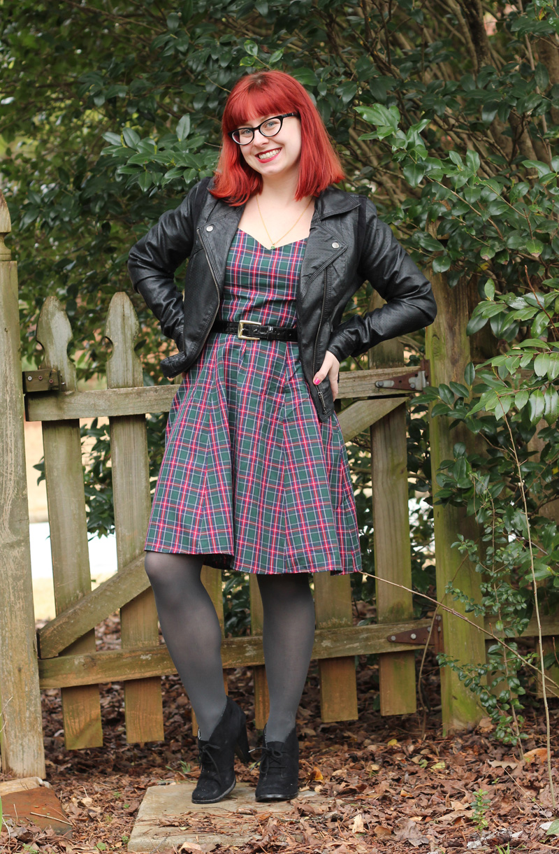 Plaid Modcloth Dress, Black Leather Jacket, Cat Eye Glasses, Gray Tights, and Black Ankle Boots for St. Pat's
