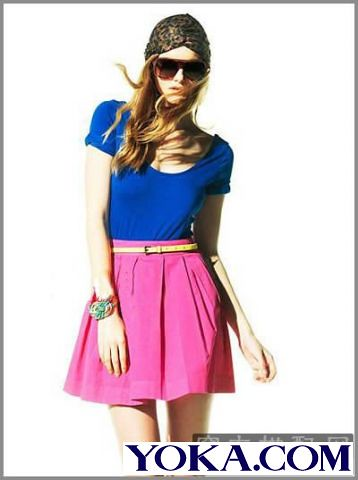 Western style summer colored skirt combination