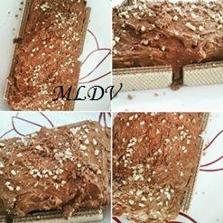 Cake au citron nappage mousse au chocolat crouti praline