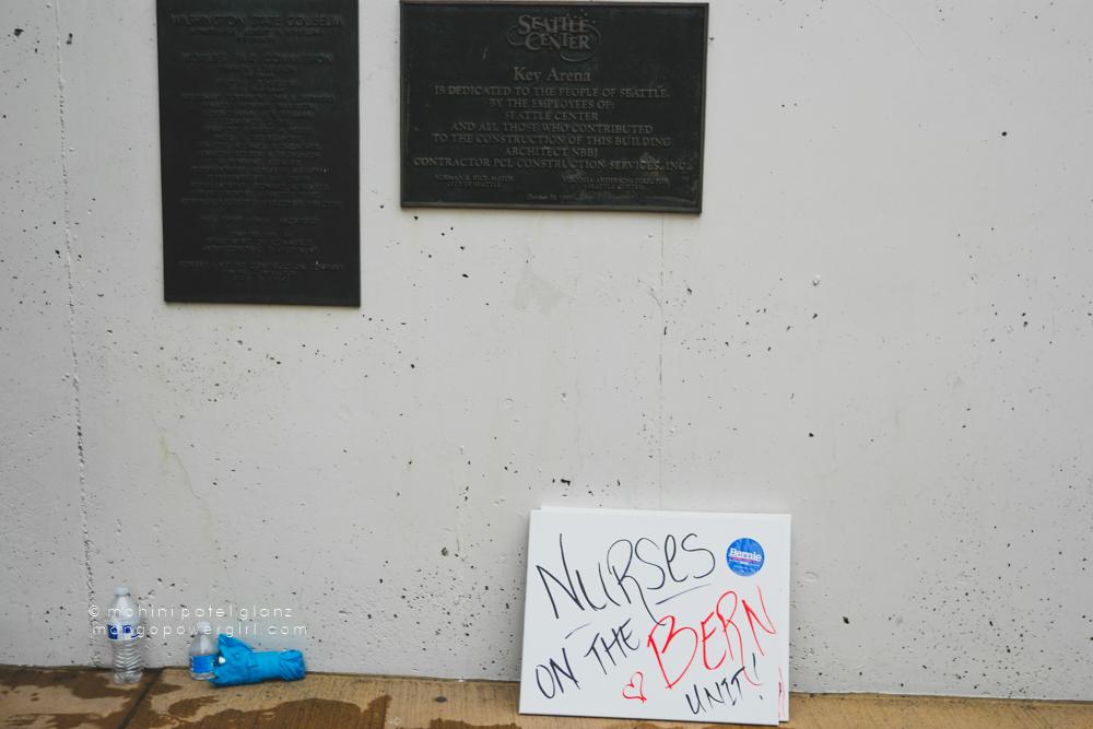 nurses on the bern unit sign at bernie sanders rally seattle