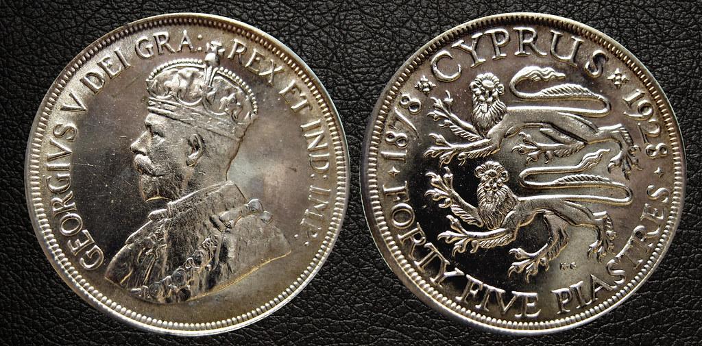 45 Piastras - Chipre 1928 - 50 aniversario de la ocupación Britanica 24662738430_8f3808b020_b