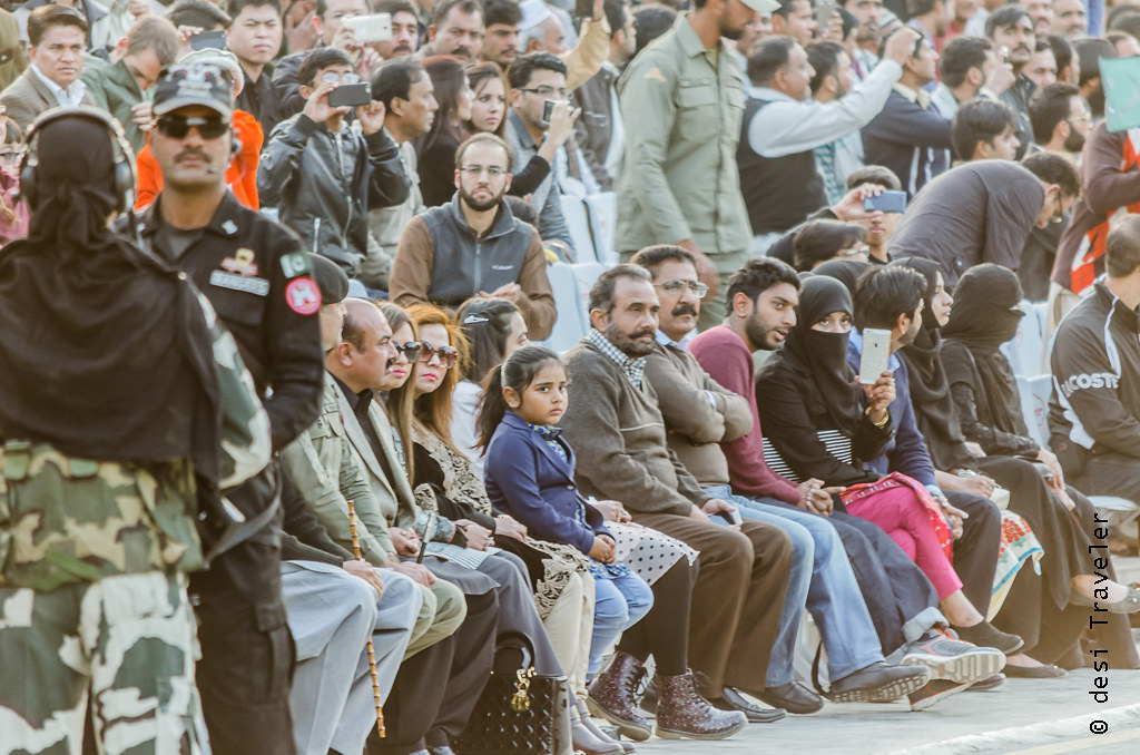 Pakistani visitors watch Wagah Border Ceremony